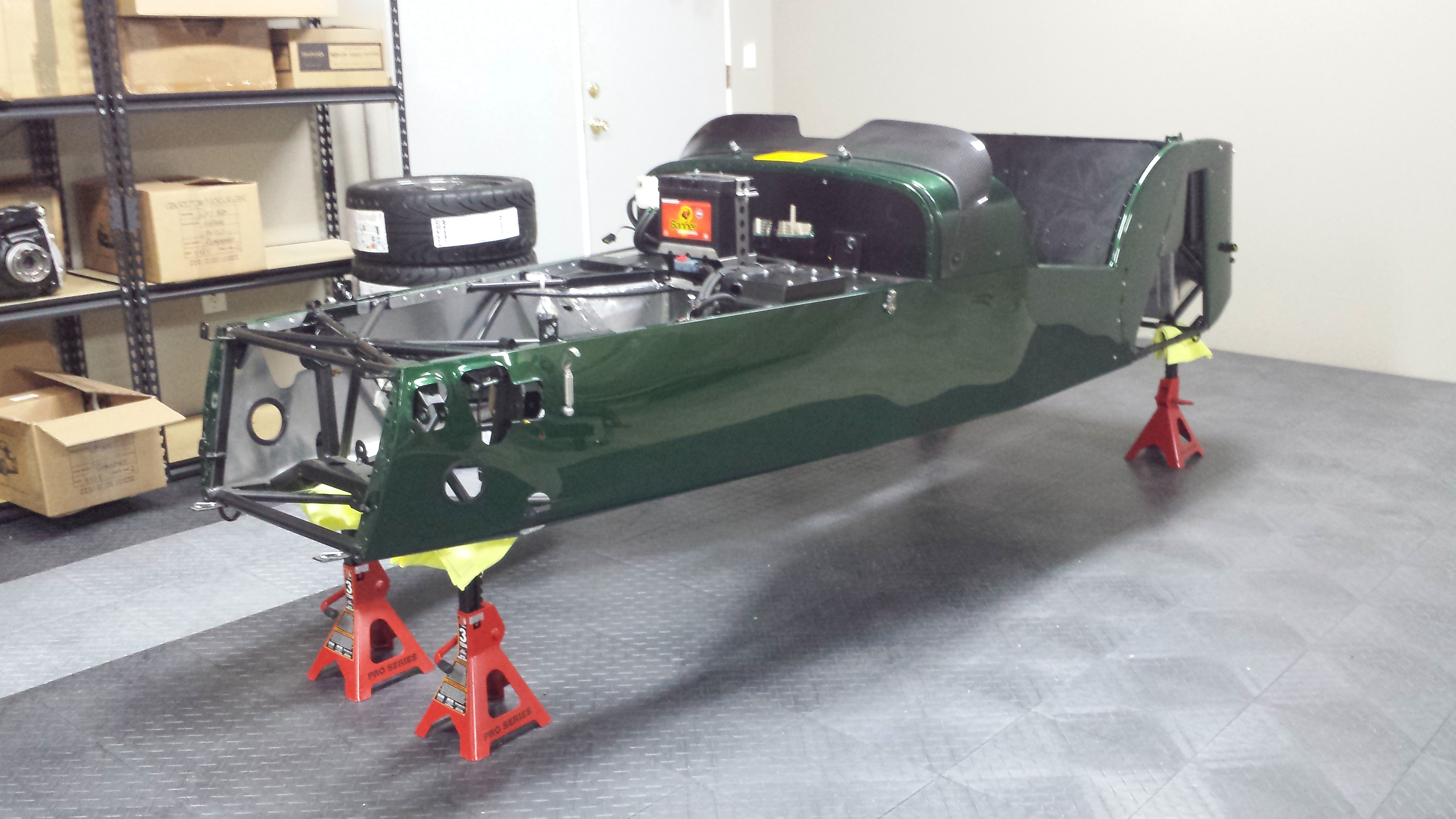 Green chassis sitting empty