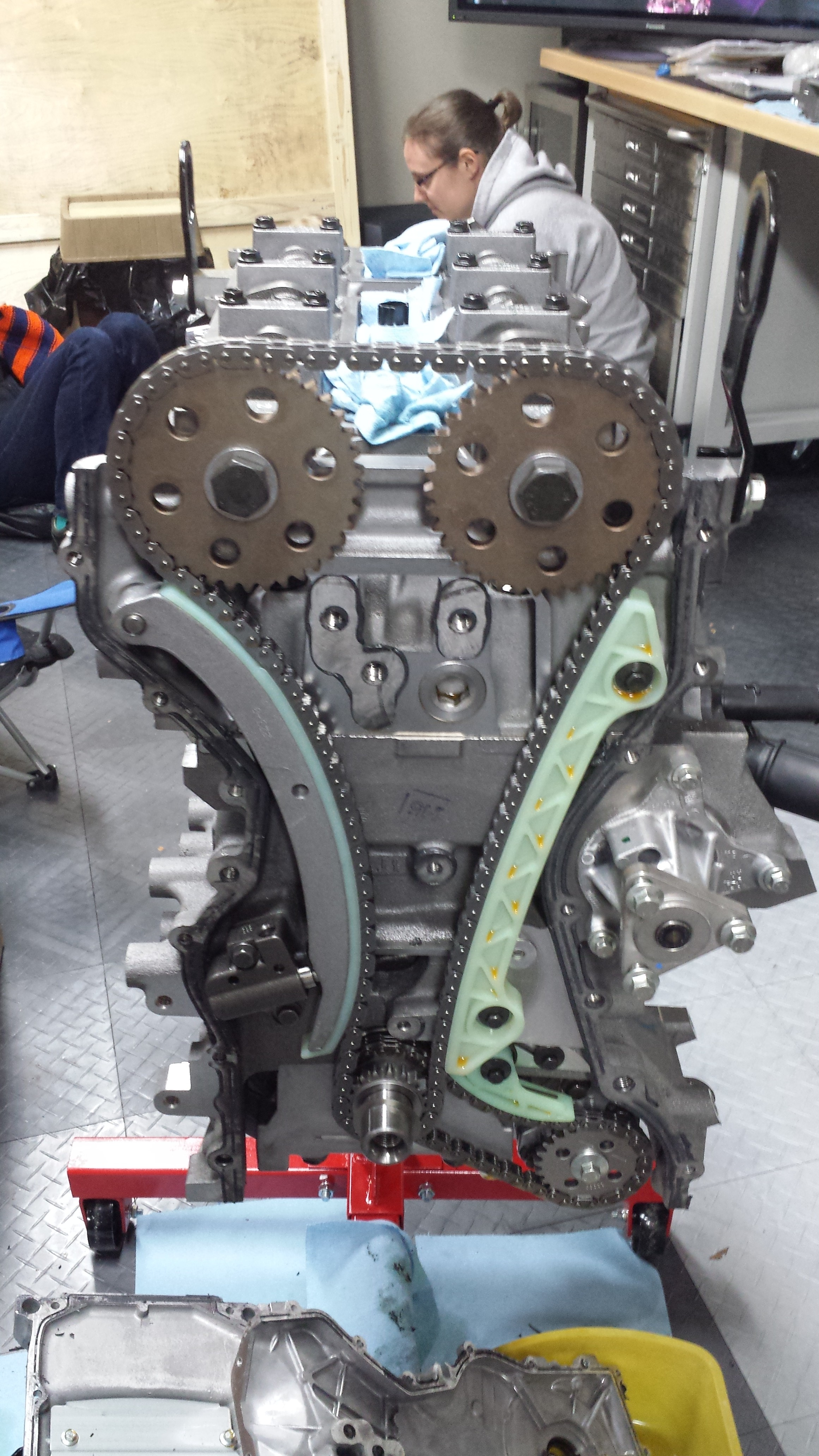 Timing cover off and camshafts in