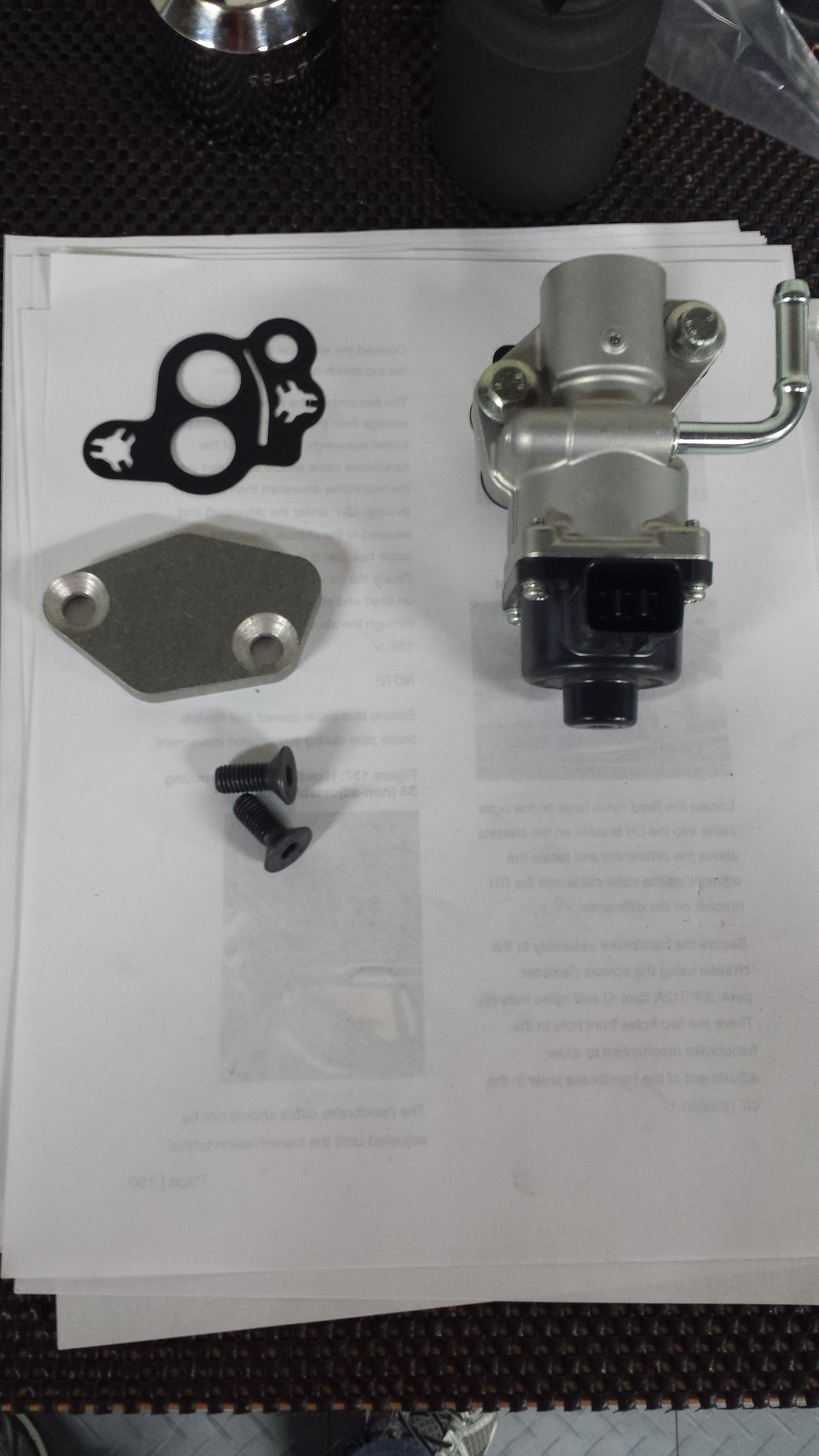 EGR valve off, blanking plate, gasket, and bolts