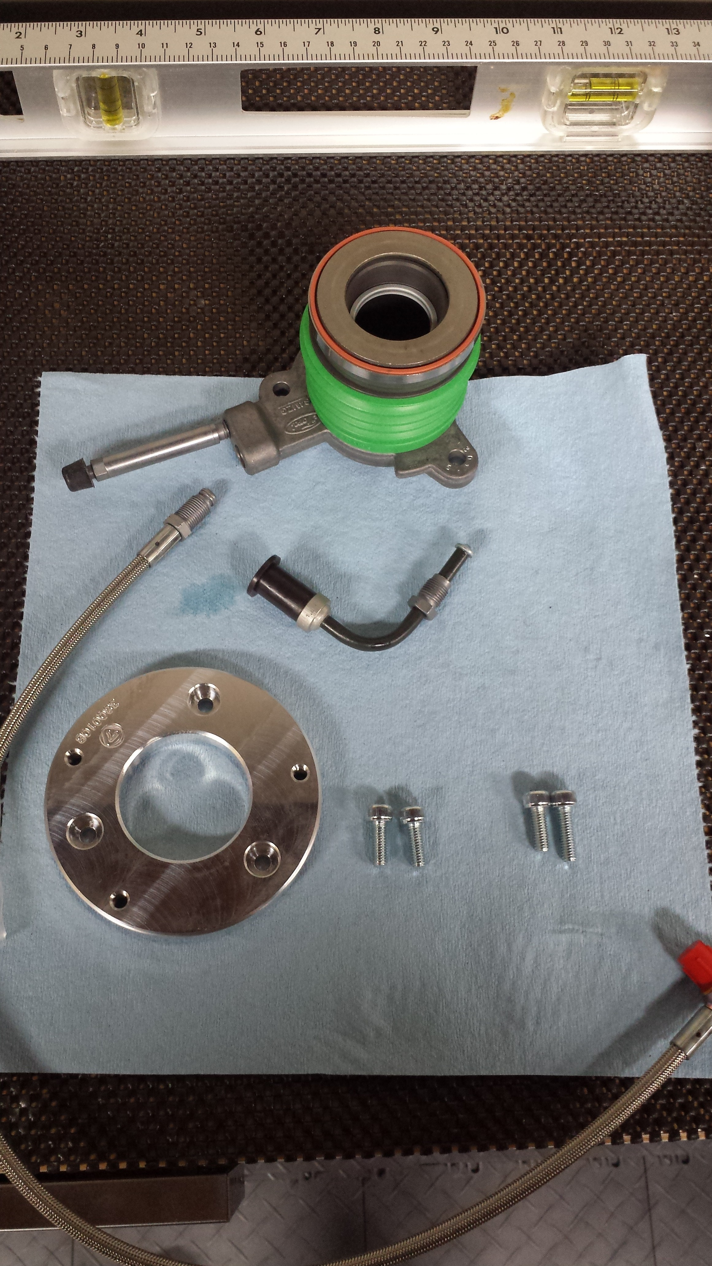 Clutch pulley, clutch line, bolts, and spacer
